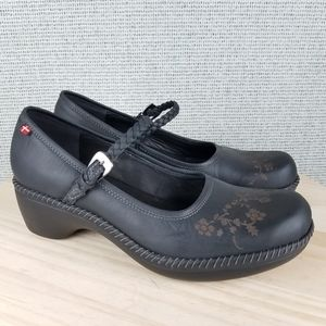 Ecco Sussex Leather Mary Jane Floral Clogs Shoes